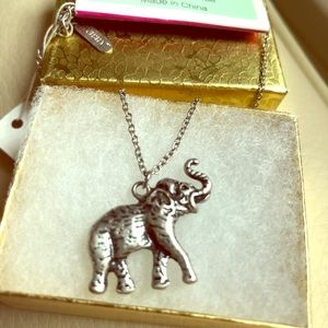 Small Elephant Silver Tone Necklace